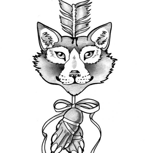 Flash pour tatouage, renard transpercé flèche. Le memento mori est un style artistique sur la vanité humaine
